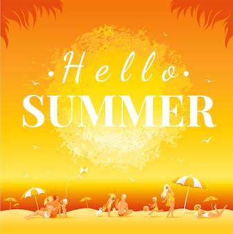Hallo zomertekst. zonsonderganglandschap met overzees strand. familie reizen vectorillustratie.