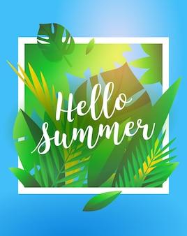 Hallo zomervakantie en zomerkamp poster. reizende sjabloon zomer