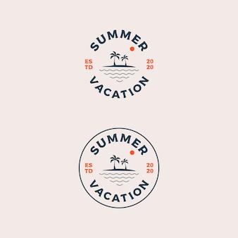 Hallo zomervakantie logo ontwerp