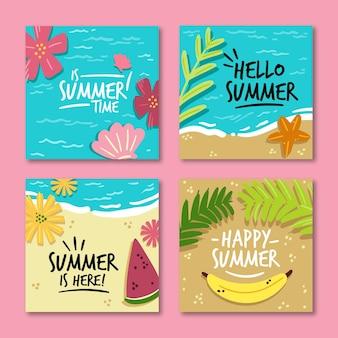 Hallo zomerverkoop instagram-berichten ingesteld