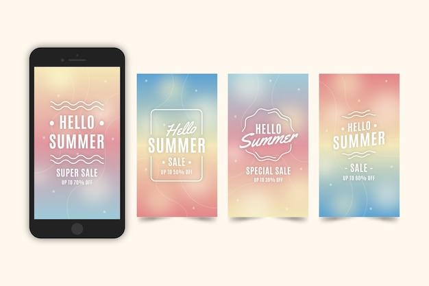 Hallo zomerverkoop instagramverhalen