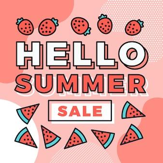 Hallo zomerverkoop met aardbeien en watermeloen