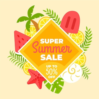 Hallo zomerverkoop met ijslolly en watermeloen