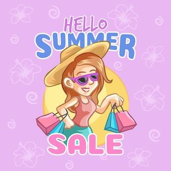 Hallo zomerverkoop met vrouw en winkelen