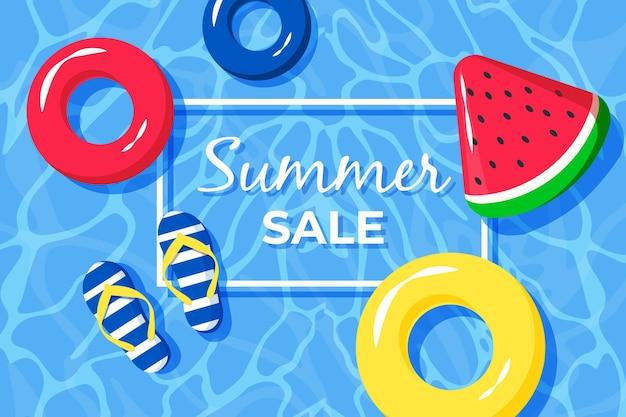 Hallo zomerverkoop met watermeloen en water