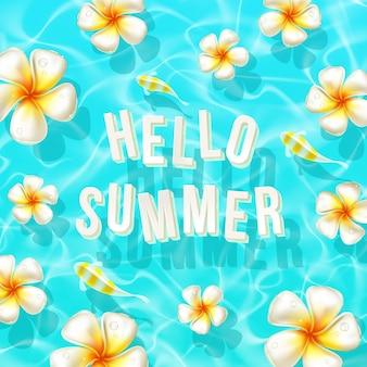 Hallo zomerwenskaart zwevende letters en tropische bloemen
