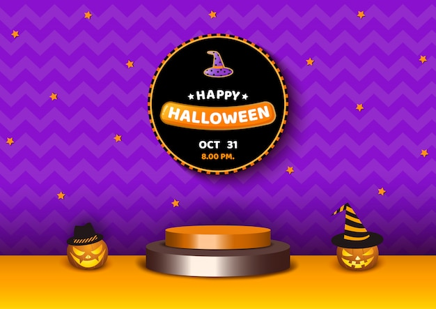 Halloween 3d-platform met pompoenen paars