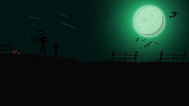 Halloween-achtergrond, groen nachtlandschap met groene volle maan, zombie, heksen en pompoenen