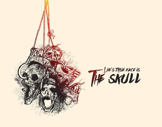 Halloween-achtergrond hangende schedels voor wenskaartontwerp