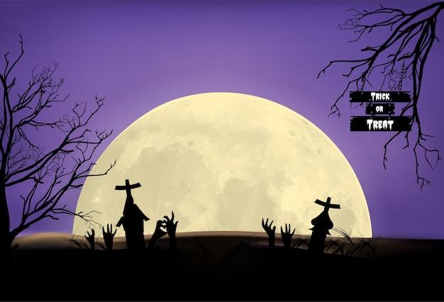 Halloween-achtergrond, illustratie vectorgrafsteen onder maanlicht.