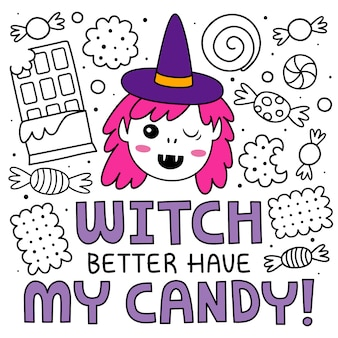 Halloween-achtergrond in krabbelstijl