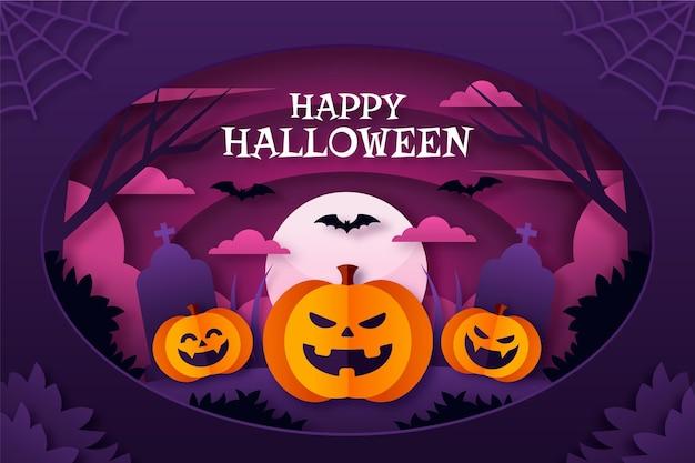 Halloween-achtergrond in papierstijl