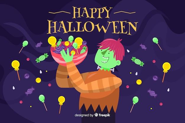 Halloween-achtergrond in plat ontwerp