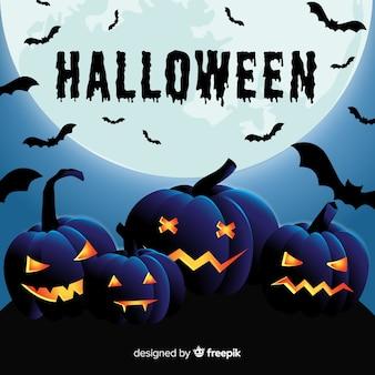 Halloween-achtergrond in vlak ontwerp
