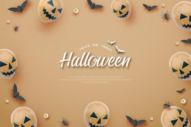 Halloween-achtergrond met 3d-oranje ballonnen
