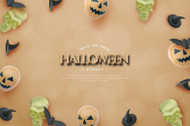 Halloween-achtergrond met 3d-schedel en ballonnen