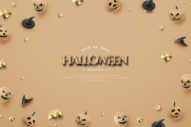 Halloween achtergrond met ballonnen en pompoenen verspreid over