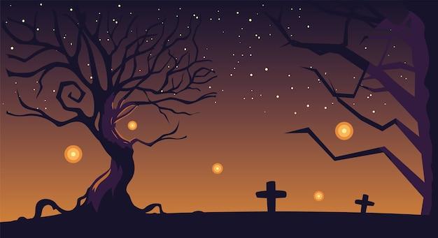 Halloween-achtergrond met begraafplaats en grafstenen bij nacht
