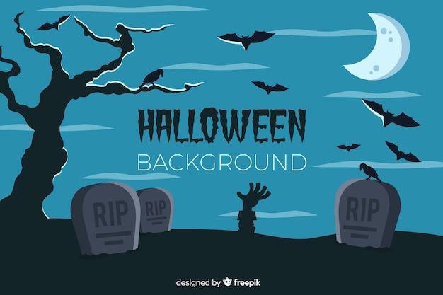 Halloween-achtergrond met begraafplaats vlak ontwerp