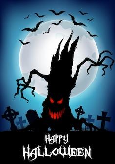 Halloween-achtergrond met boomsilhouet en begraafplaats