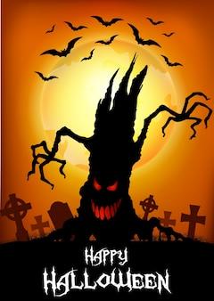 Halloween-achtergrond met boomsilhouet