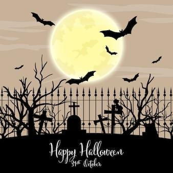 Halloween-achtergrond met de gelukkige tekst van halloween.
