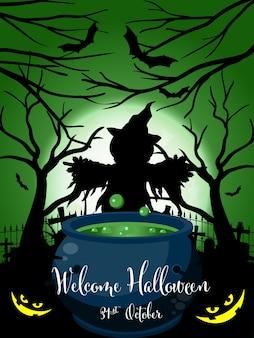 Halloween-achtergrond met de welkome tekst van halloween.
