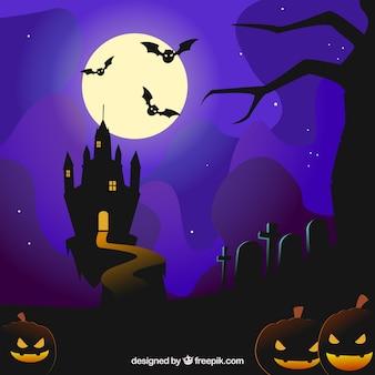 Halloween achtergrond met een kasteel en vleermuizen vliegen