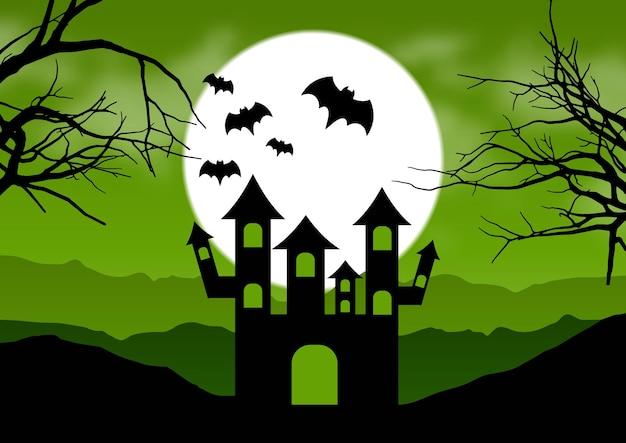 Halloween-achtergrond met een spookachtig huislandschap