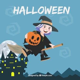 Halloween achtergrond met gelukkige heks