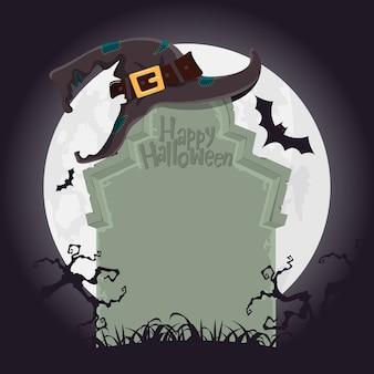 Halloween-achtergrond met graf in ernstige werf.