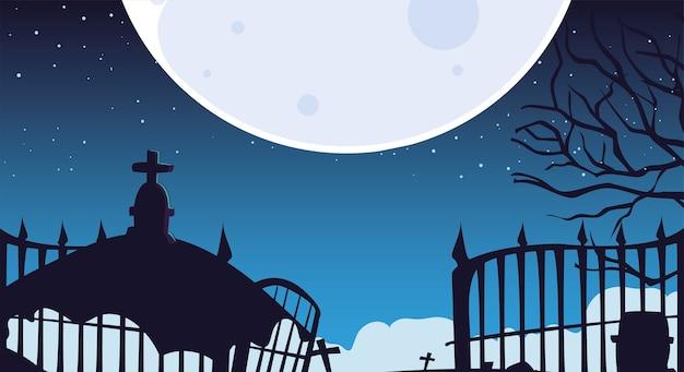 Halloween-achtergrond met griezelig kerkhof bij nacht