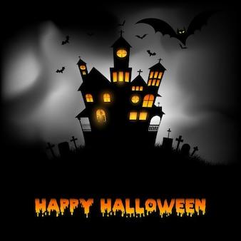Halloween achtergrond met griezelige spookhuis