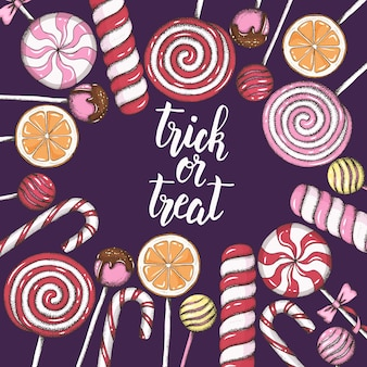 Halloween-achtergrond met hand getrokken gekleurd suikergoed
