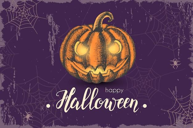 Halloween-achtergrond met hand getrokken pompoen en met de hand gemaakt trendy van letters voorzien