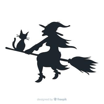 Halloween-achtergrond met heksensilhouet