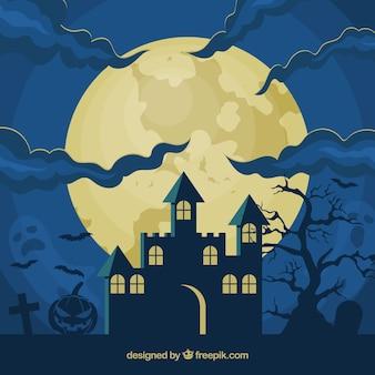 Halloween achtergrond met huis en volle maan