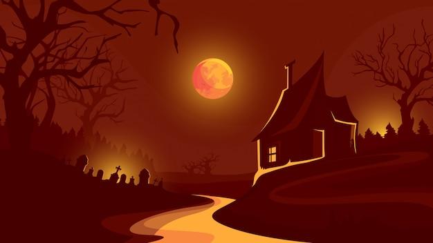Halloween-achtergrond met huis onder rode hemel.