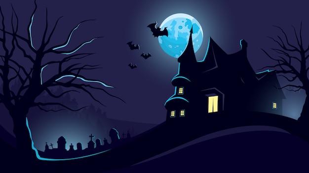 Halloween-achtergrond met kasteel en begraafplaats.