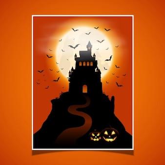 Halloween achtergrond met kasteel en pompoenen