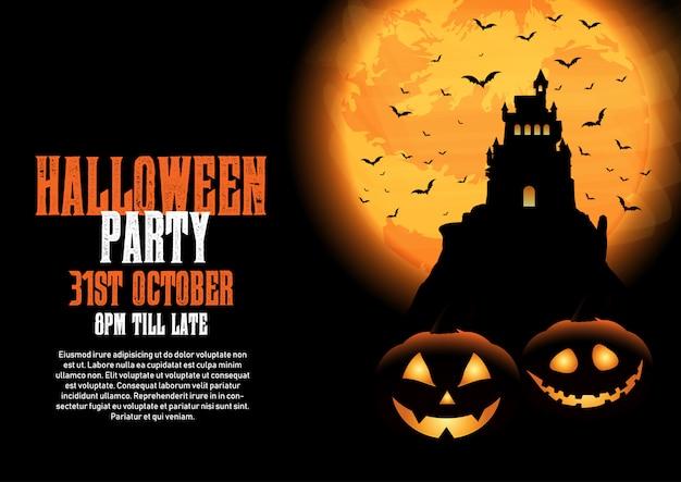 Halloween-achtergrond met kasteel en pompoenen