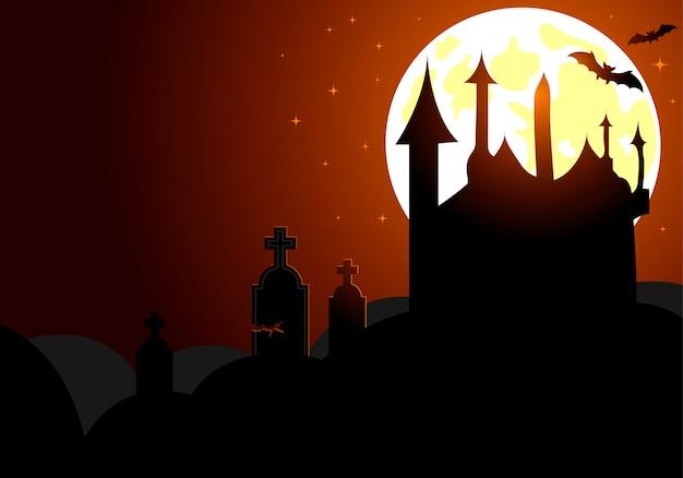 Halloween-achtergrond met kasteel op volle maan, vleermuis en grafsteen