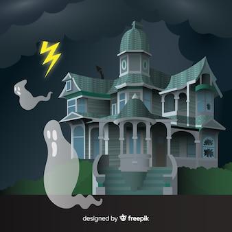 Halloween-achtergrond met kasteel