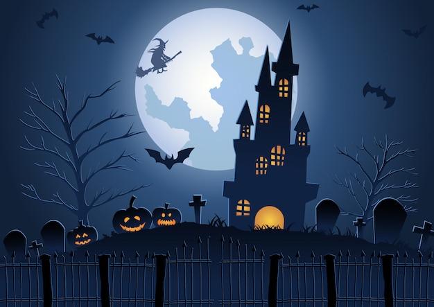 Halloween-achtergrond met kerkhof en kasteel