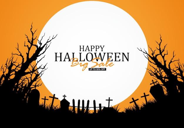 Halloween-achtergrond met kerkhoven wordt verfraaid dat