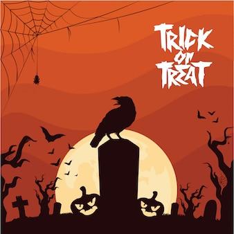 Halloween-achtergrond met kraai op het kerkhof