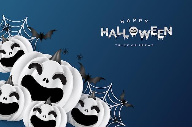 Halloween-achtergrond met lachende pompoen en spinnenweb erachter
