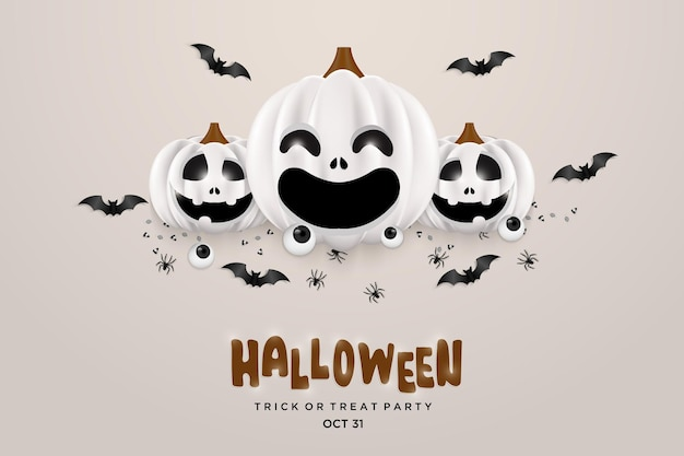 Halloween achtergrond met lachende pompoenen