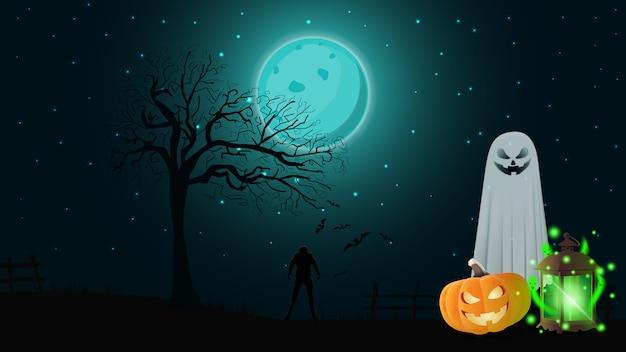 Halloween-achtergrond met nachtlandschap, spoken, pompoen jack en oude lantaarn met spoken
