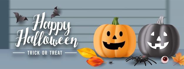 Halloween-achtergrond met oogbollen, spinnen, vleermuizen en pompoenen bij de voordeur. vector